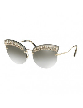 SUNGLASSES MIU MIU MOD.MU58T 65/17 E93-5O0 GOLD COLOUR graduated LENS MIRRORED GREY