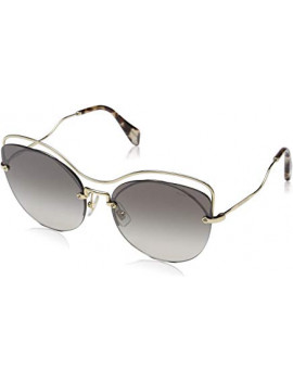 miu miu Woman 0Mu50Ts Zvn5O0 60 Sunglasses, Gold (Pale Gold/Gradientgreymirrorsilver)